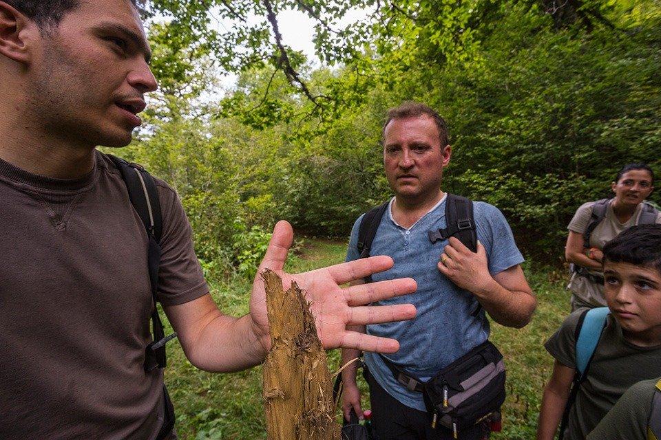 I segni del passaggio di un orso marsicano rilevate lungo il sentiero
