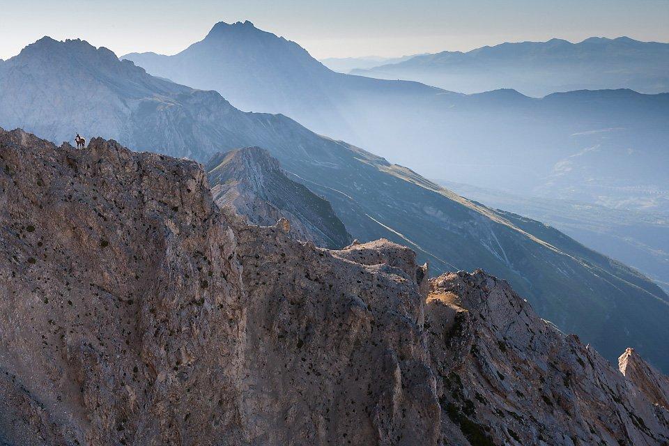 L'imponente catena del Gran Sasso che dal Corno Grande giunge al Monte Camicia